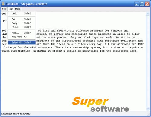 Скриншот Steganos LockNote 1.0.5