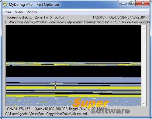 Скриншот MyDefrag 4.3.1