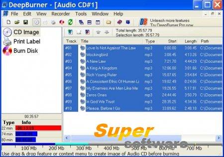 Скриншот DeepBurner Free 1.9.0.228