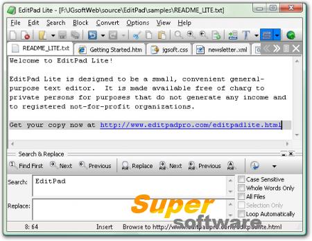 Скриншот EditPad Lite 7.6.0