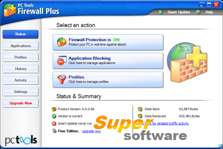 Скриншот PC Tools Firewall Plus 7.0.0.123