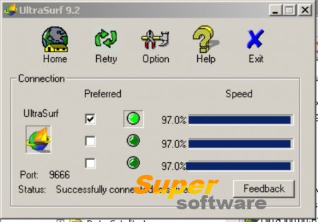 Скриншот UltraSurf 16.02