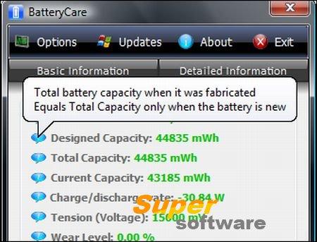Скриншот BatteryCare 0.9.27.0