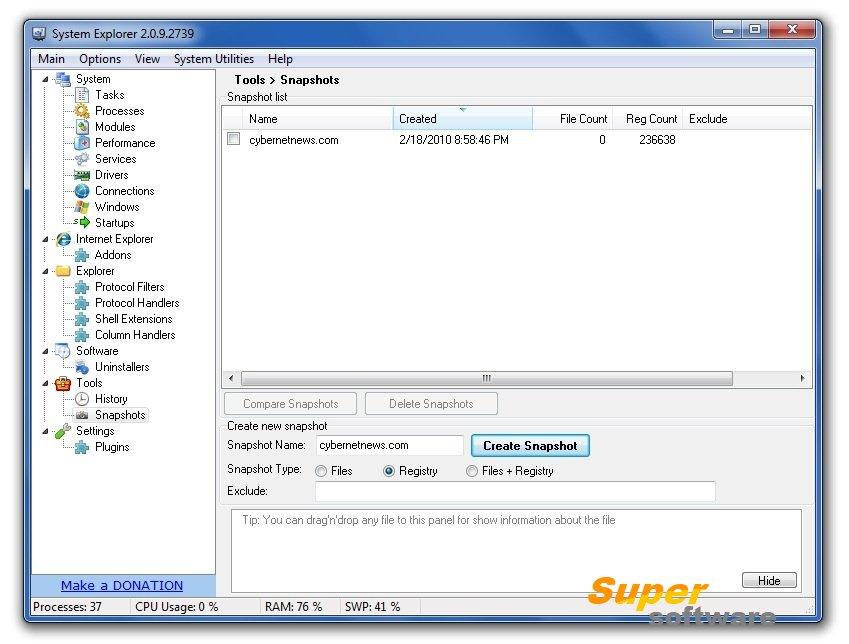 Скриншот System Explorer 7.1.0.5359