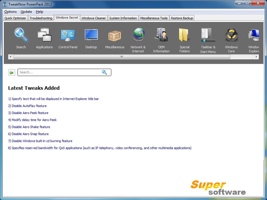 Скриншот TweakNow PowerPack 4.3.0