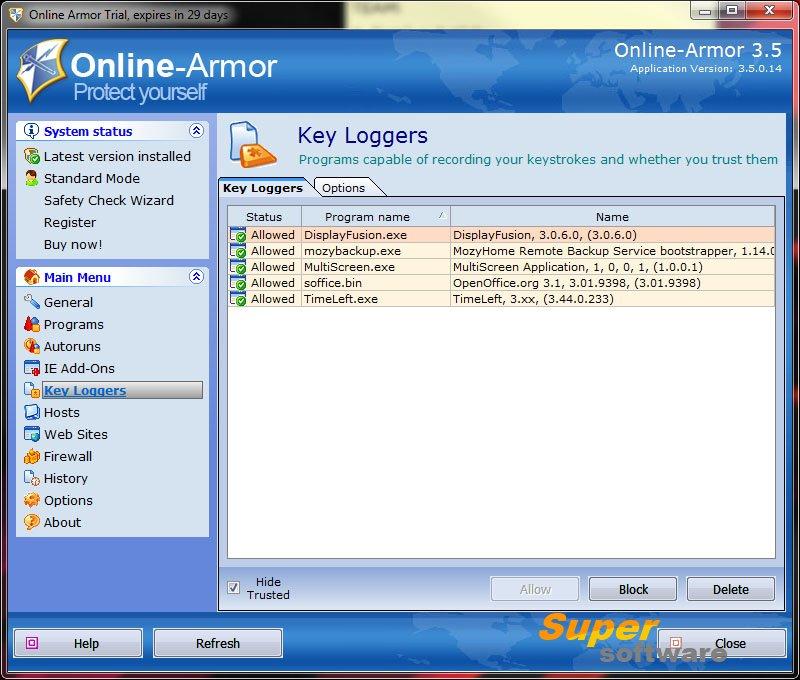 Скриншот Online Armor Free 6.0.0.1736