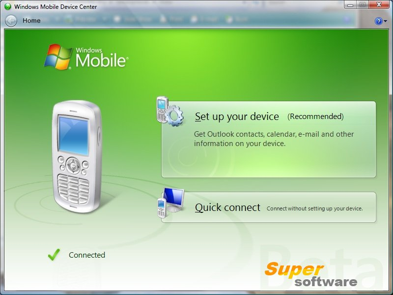 Скриншот Windows Mobile Device Center 6.1.6965
