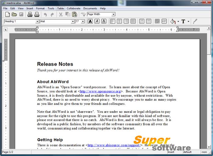 Скриншот AbiWord 2.9.4