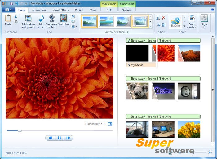 Скриншот Windows Live Movie Maker 16.4.3528.331