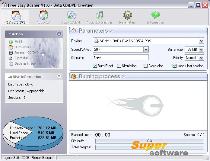 Скриншот Free Easy CD DVD Burner 5.1.0