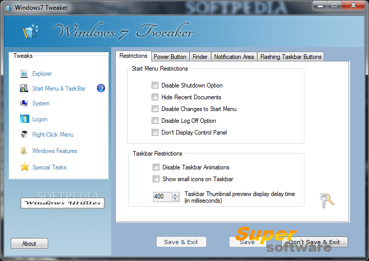 Скриншот Windows 7 Tweaker 3.8