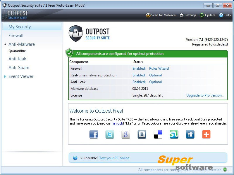 Скриншот Outpost Security Suite Free 7.1.1 (3431.520.1248)