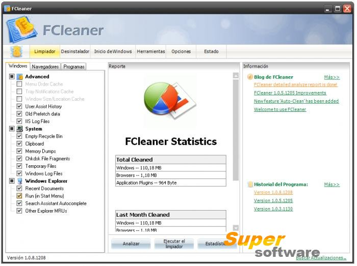 Скриншот FCleaner 1.3.1.621