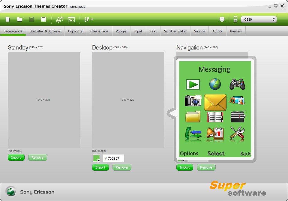 Скриншот Sony Ericsson Themes Creator 4.16.2.6