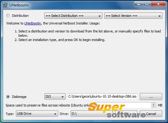 Скриншот UNetbootin 6.47