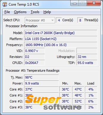 Скриншот Core Temp 1.1