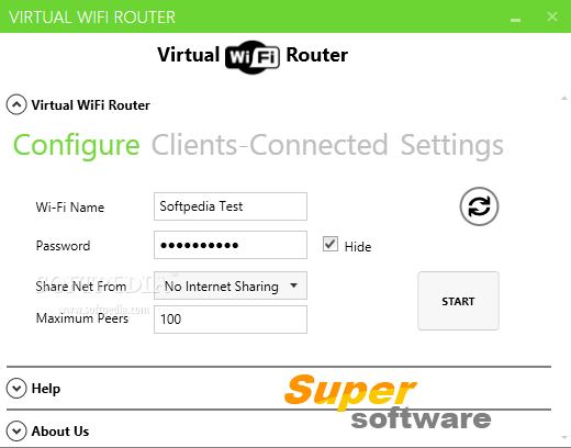 Скриншот Virtual WiFi Router 3.0.1.2