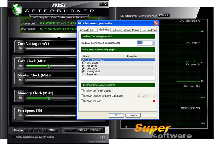 Скриншот MSI Afterburner 4.3.0.9267