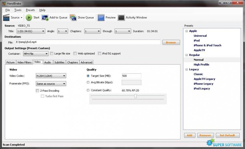 Скриншот HandBrake 1.0.1