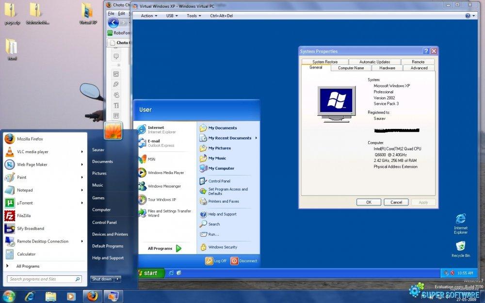 Скриншот Microsoft Virtual PC 6.1.7600.16393