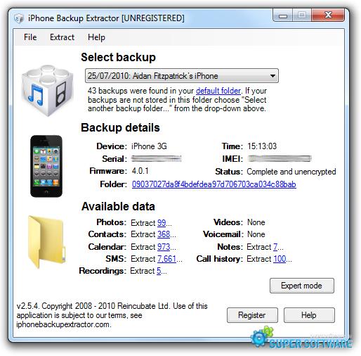 Скриншот Free iPhone Backup Extractor 7.4.8.1600