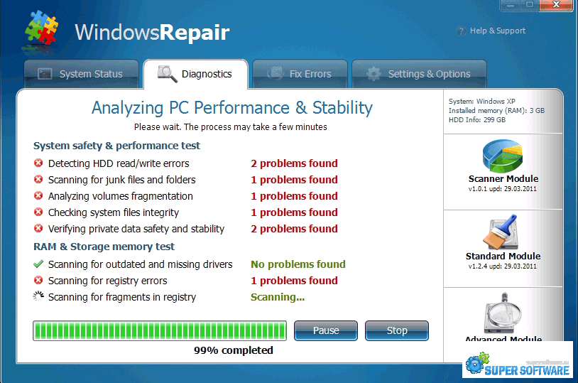 Скриншот Windows Repair 4.0.3